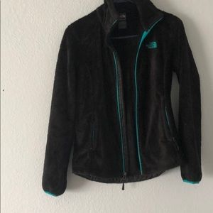 Black/teal north face zip up